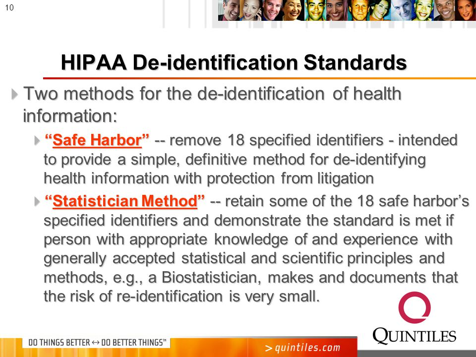 De-identified Health Information  Definition: health information that does not identify an individual and with respect to which there is no reasonable basis to believe that the information can be used to identify an individual.