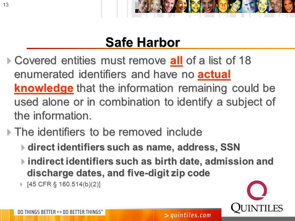 Safe Harbor Method