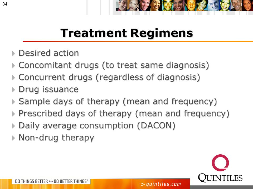 Treatment Regimens  Dosage form, strength and signa  Formulary impact  Quantity prescribed and number of refills (mean and frequency)  Weighted diagnosis value  Dispensing instructions  Occurrences per physician per year  Therapy type:  New  First-line versus adjunct therapy  Drug replacement and reason  Continued 33