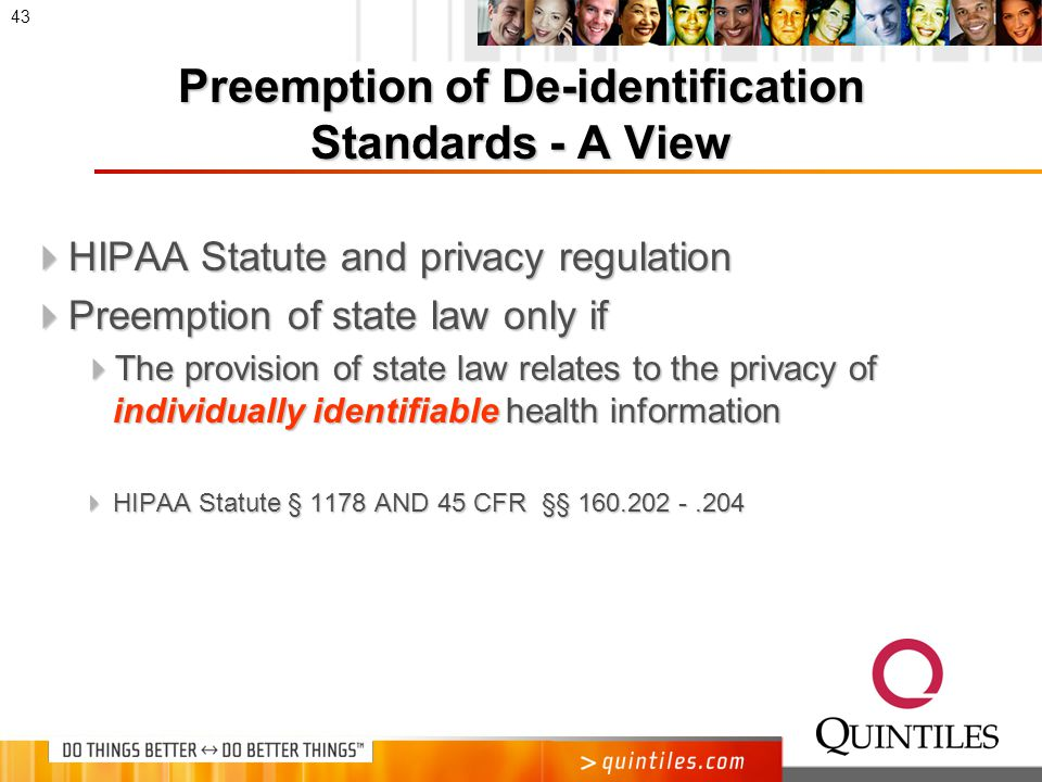 Preemption of State Laws on De- identification Standards for Health Information