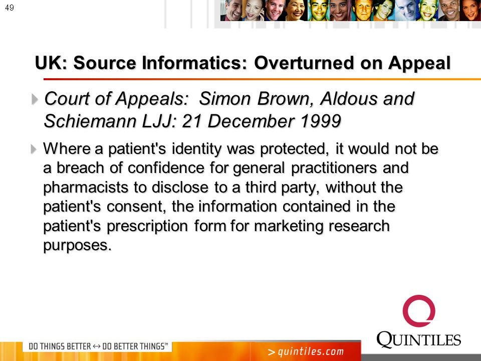 UK Controversy  Regina v.Department of Health, Ex Parte Source Informatics Ltd.