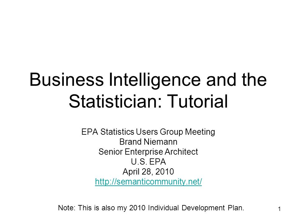 1 Business Intelligence and the Statistician: Tutorial EPA Statistics Users Group Meeting Brand Niemann Senior Enterprise Architect U.S.