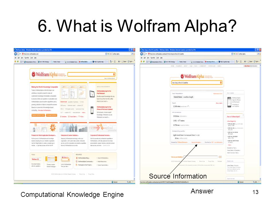 13 6. What is Wolfram Alpha Computational Knowledge Engine Answer Source Information