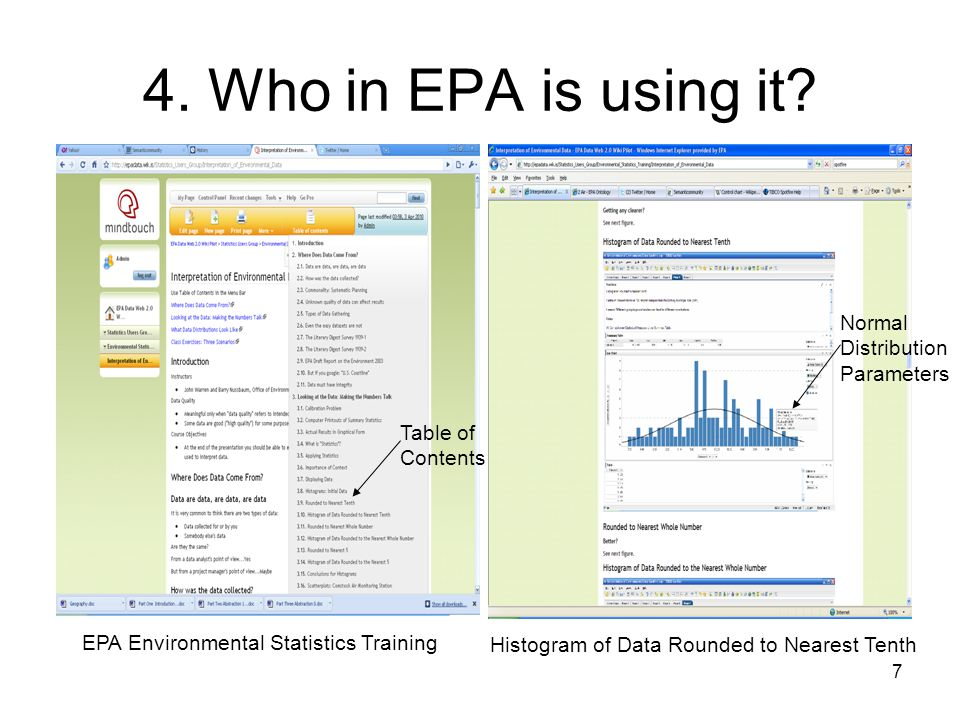 7 4. Who in EPA is using it.