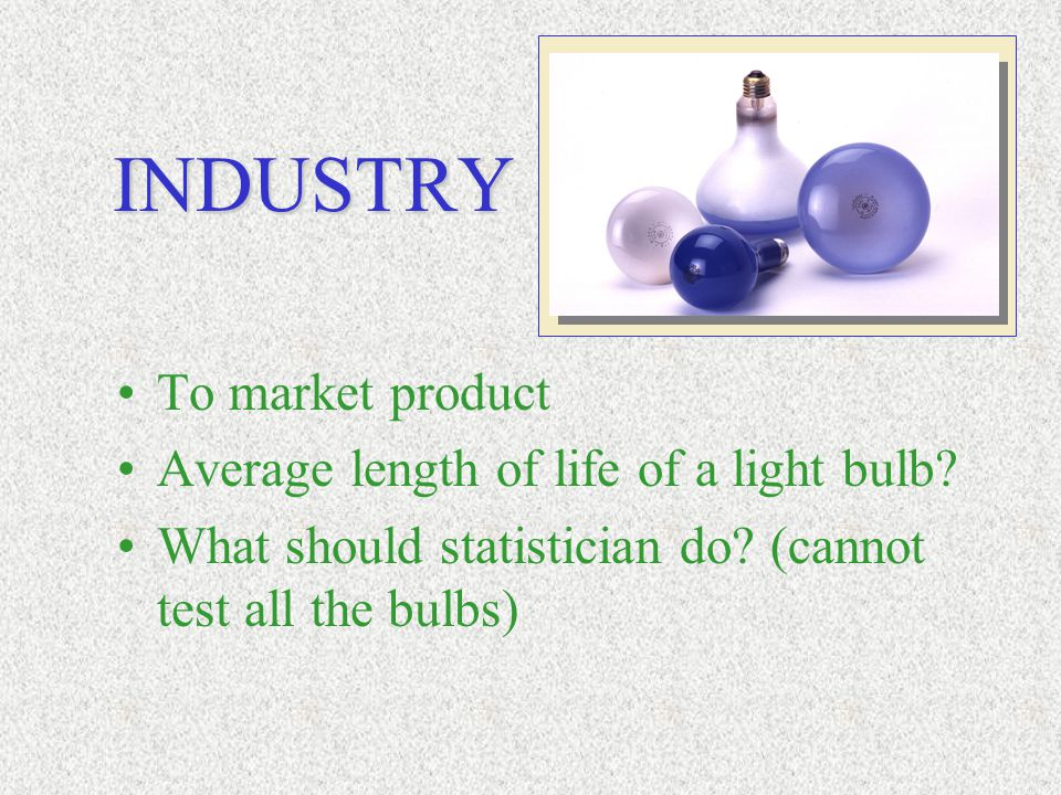 To market product Average length of life of a light bulb? What should statistician do? (cannot test all the bulbs) INDUSTRY