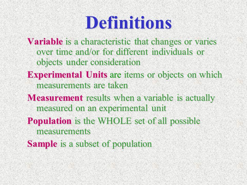 Examples Light bulbsLight bulbs –Variable=lifetime –Experimental unit = bulb –Typical measurements: 1503.1 hrs, 1010.5 hrs