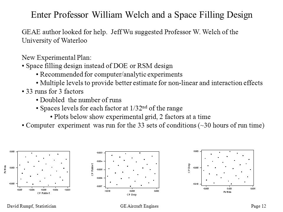 David Rumpf, StatisticianGE Aircraft Engines Page 12 Enter Professor William Welch and a Space Filling Design GEAE author looked for help. Jeff Wu sug