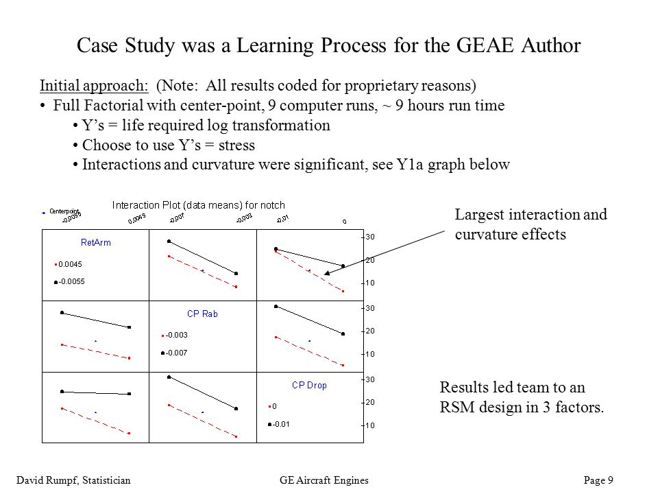 David Rumpf, StatisticianGE Aircraft Engines Page 9 Case Study was a Learning Process for the GEAE Author Initial approach: (Note: All results coded f