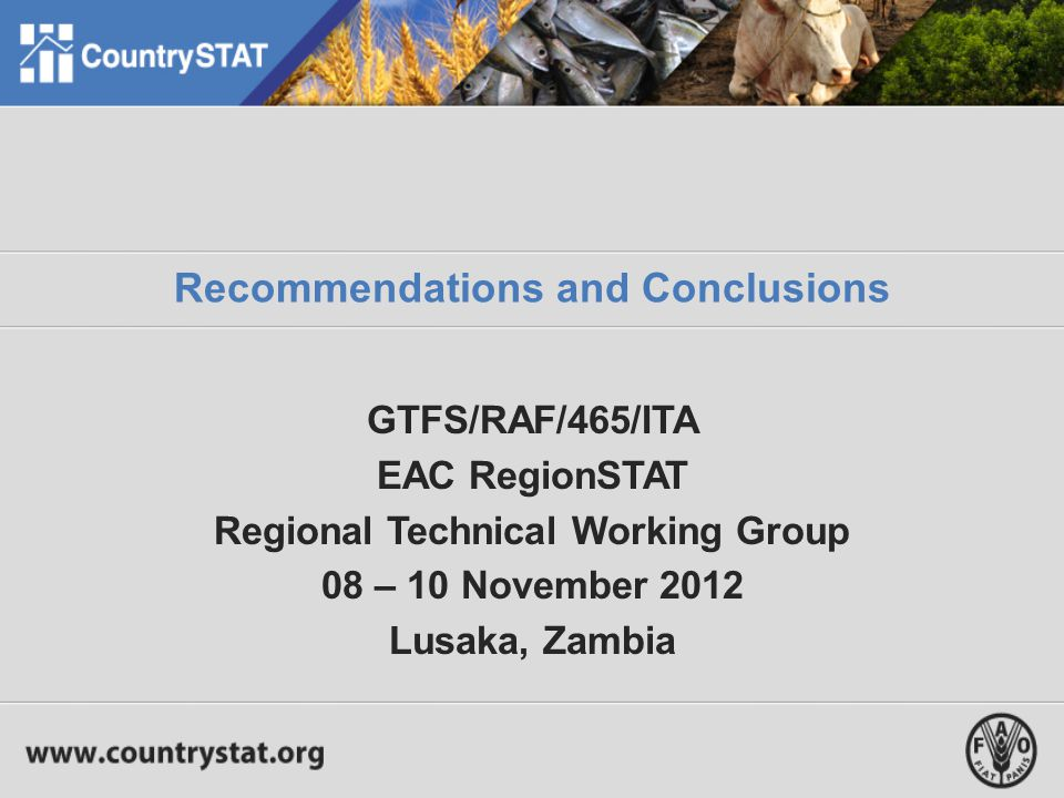 Recommendations and Conclusions GTFS/RAF/465/ITA EAC RegionSTAT Regional Technical Working Group 08 – 10 November 2012 Lusaka, Zambia