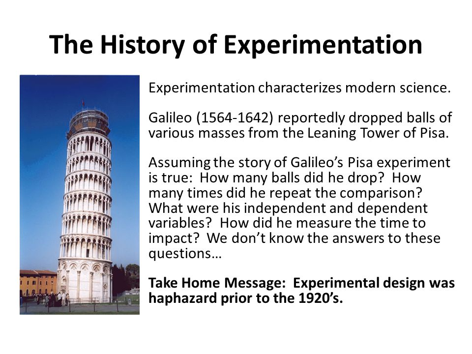 The History of Experimentation Experimentation characterizes modern science. Galileo (1564-1642) reportedly dropped balls of various masses from the L