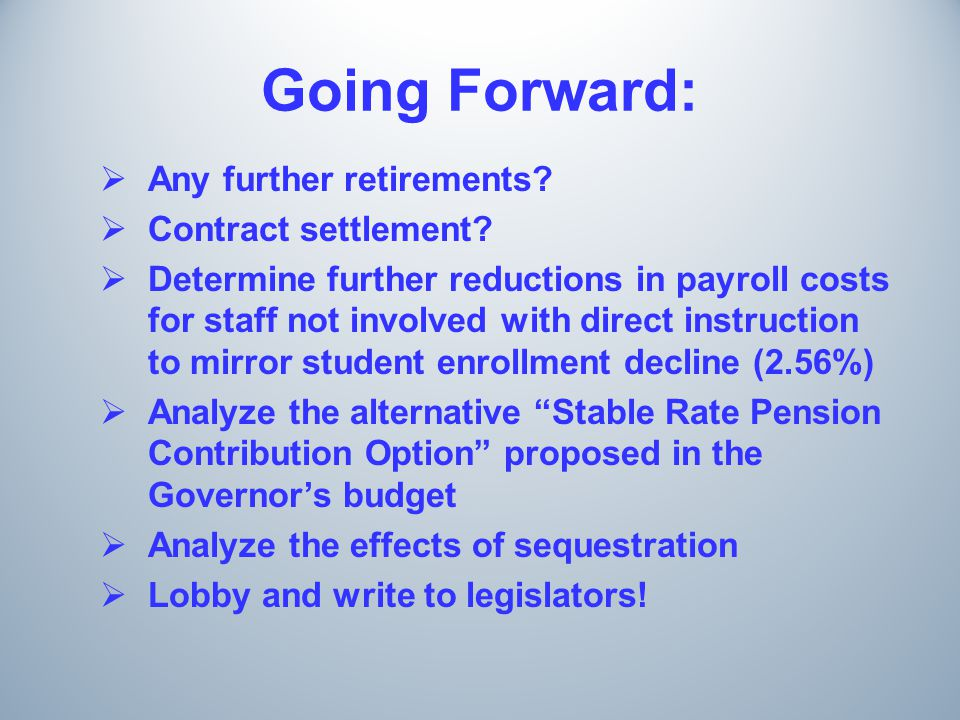 Going Forward:  Any further retirements.  Contract settlement.