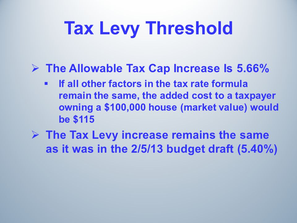 Tax Levy Threshold  The Allowable Tax Cap Increase Is 5.66%  If all other factors in the tax rate formula remain the same, the added cost to a taxpayer owning a $100,000 house (market value) would be $115  The Tax Levy increase remains the same as it was in the 2/5/13 budget draft (5.40%)