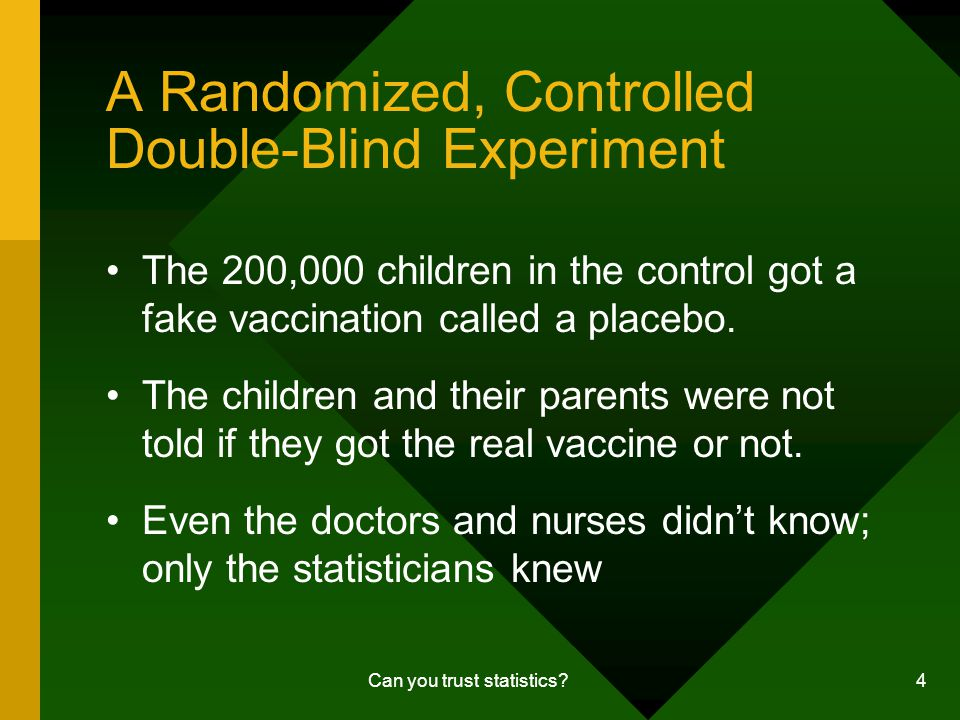 Can you trust statistics.5 Experimental Results Looks promising but is it significant.