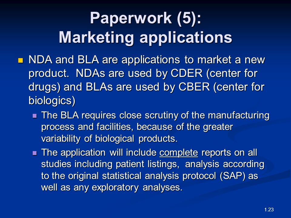 Paperwork (5): Marketing applications NDA and BLA are applications to market a new product.