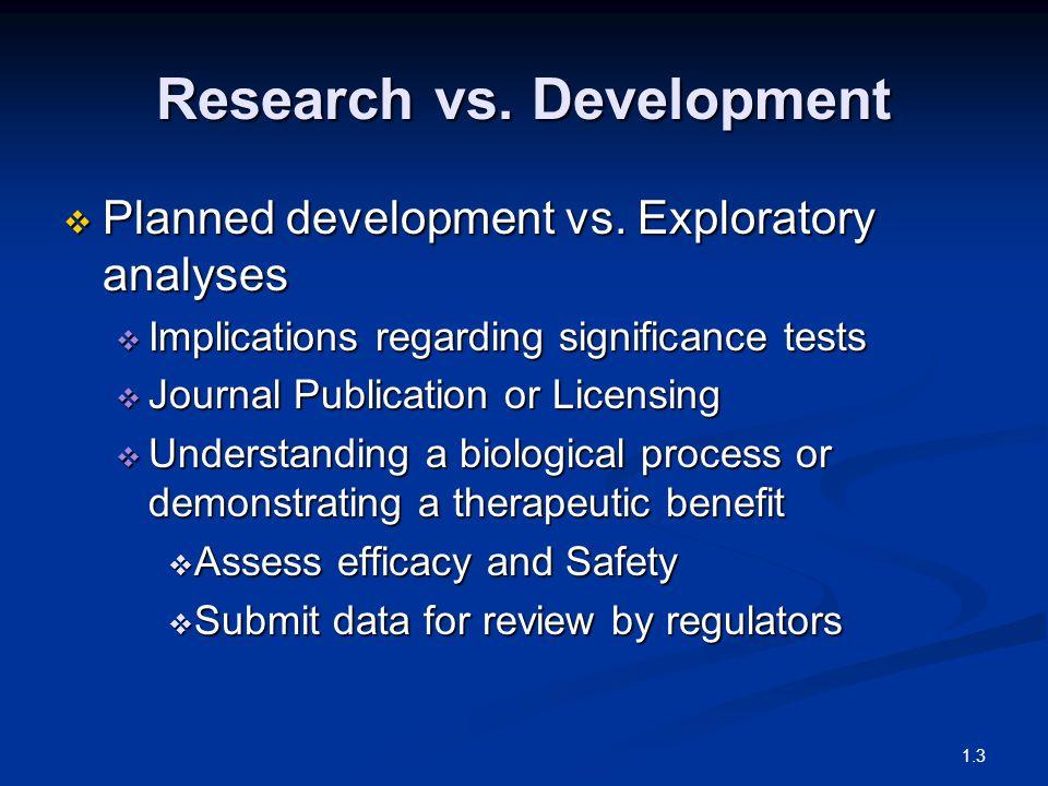 Research vs. Development  Planned development vs.