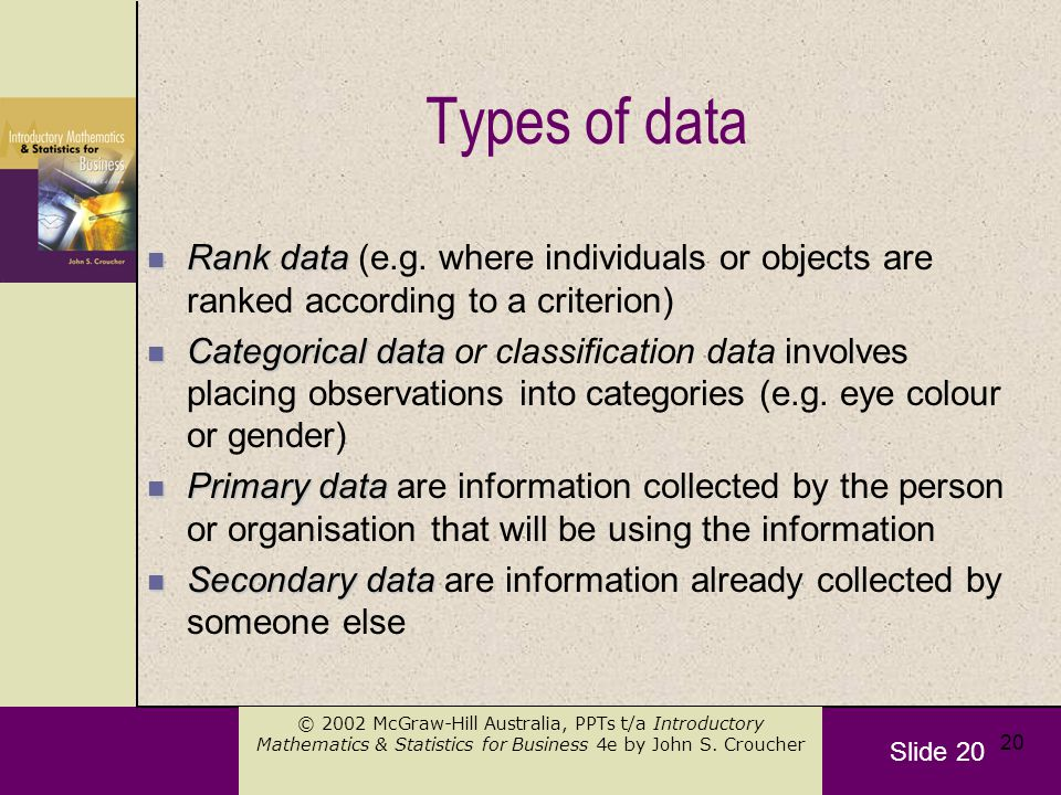 Slide 20 © 2002 McGraw-Hill Australia, PPTs t/a Introductory Mathematics & Statistics for Business 4e by John S.