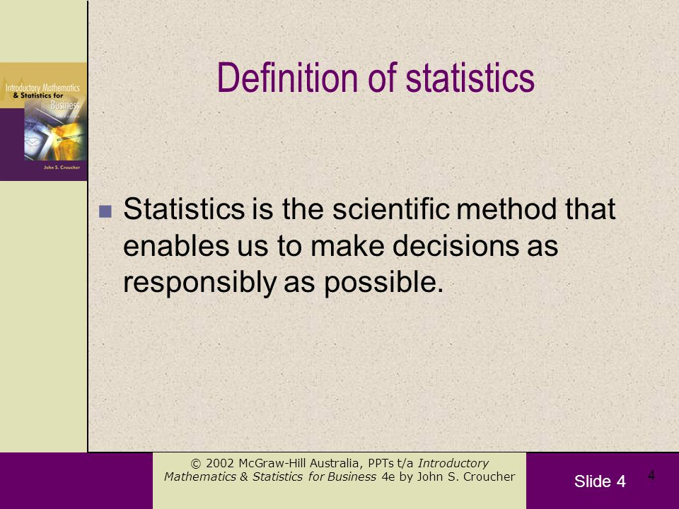 Slide 15 © 2002 McGraw-Hill Australia, PPTs t/a Introductory Mathematics & Statistics for Business 4e by John S.