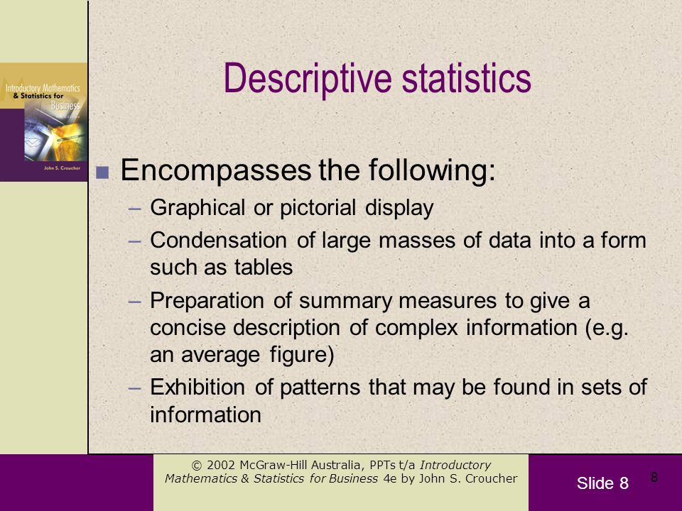 Slide 9 © 2002 McGraw-Hill Australia, PPTs t/a Introductory Mathematics & Statistics for Business 4e by John S.