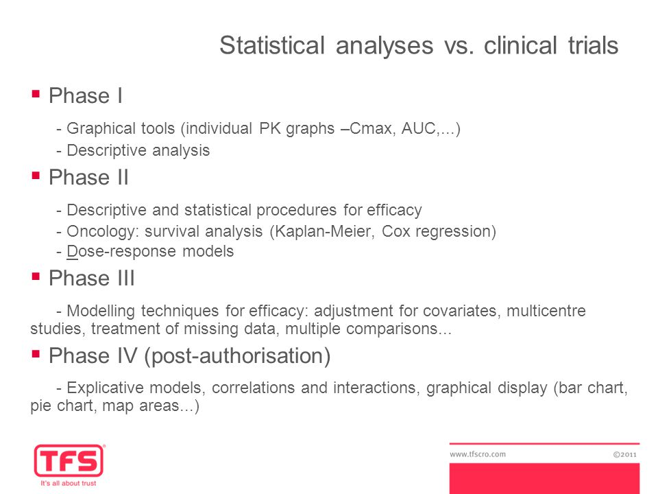Statistical analyses vs.