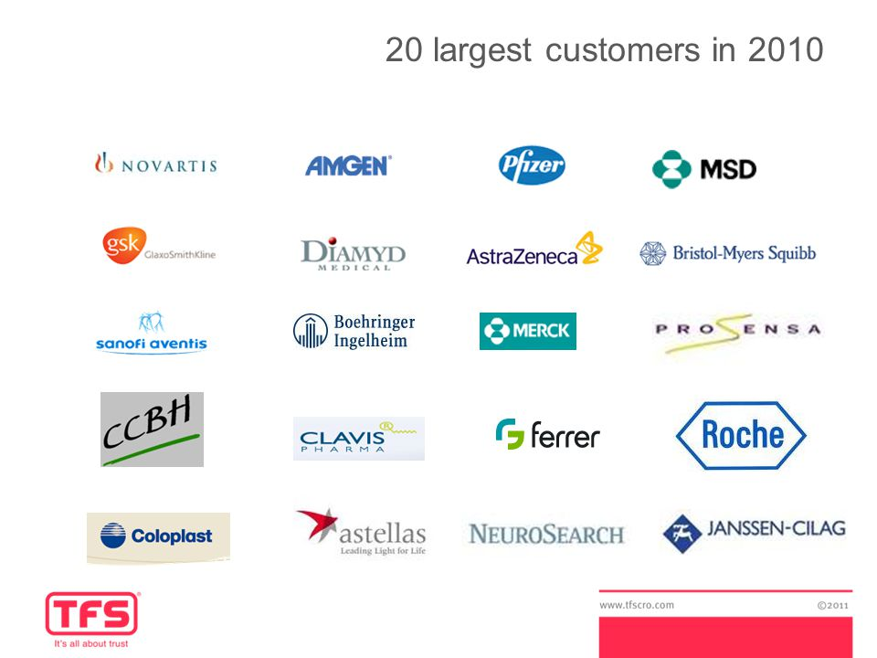 20 largest customers in 2010