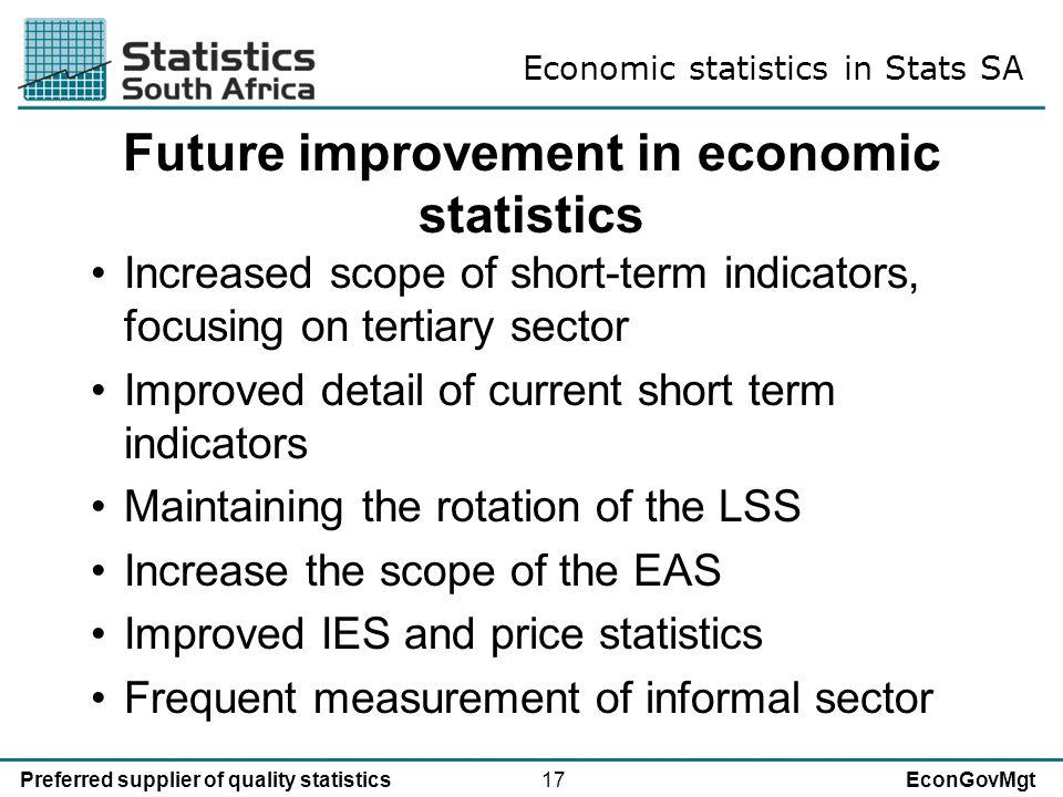 17Preferred supplier of quality statisticsEconGovMgt Future improvement in economic statistics Increased scope of short-term indicators, focusing on t
