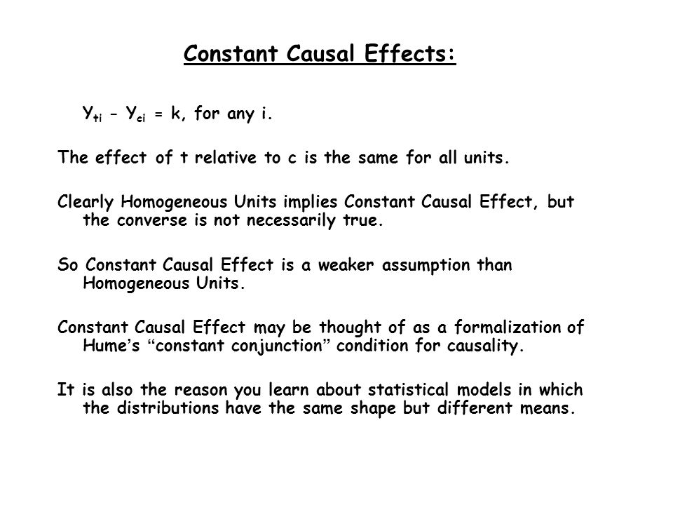 Constant Causal Effects: Y ti - Y ci = k, for any i.