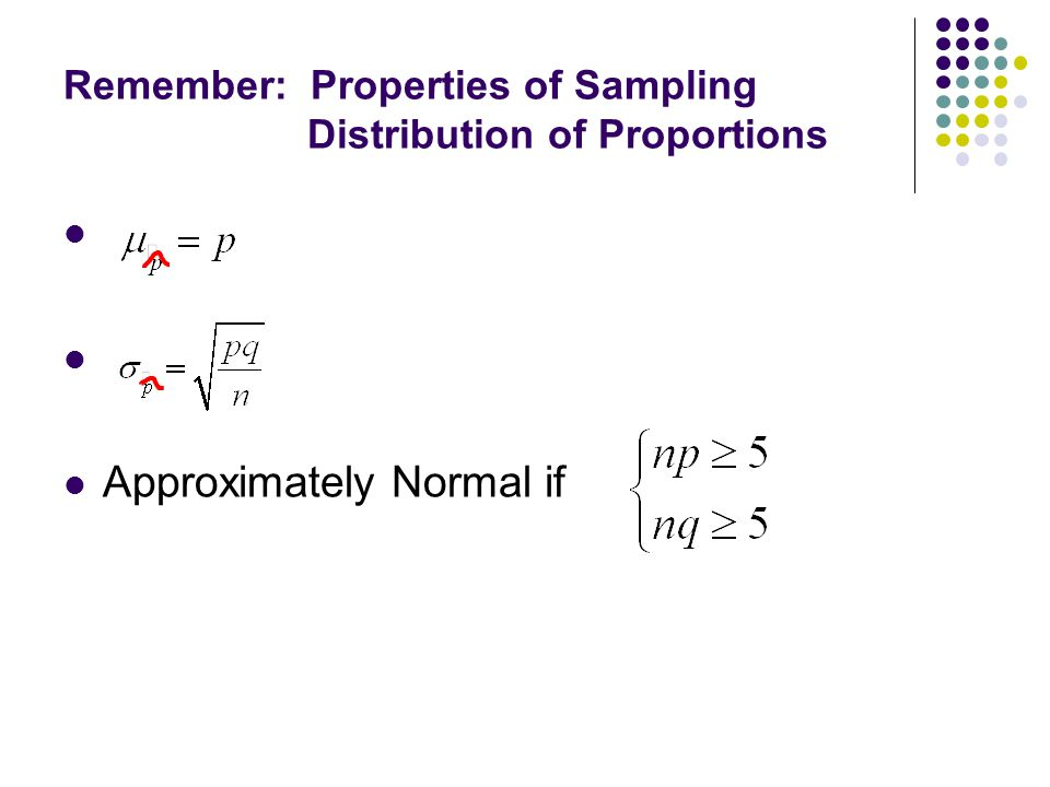 Remember: Properties of Sampling Distribution of Proportions Approximately Normal if