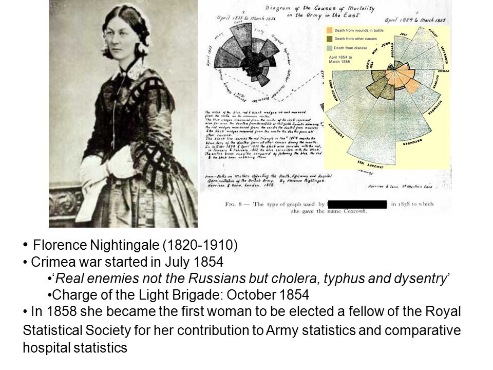 Florence Nightingale (1820-1910) Crimea war started in July 1854 'Real enemies not the Russians but cholera, typhus and dysentry' Charge of the Light