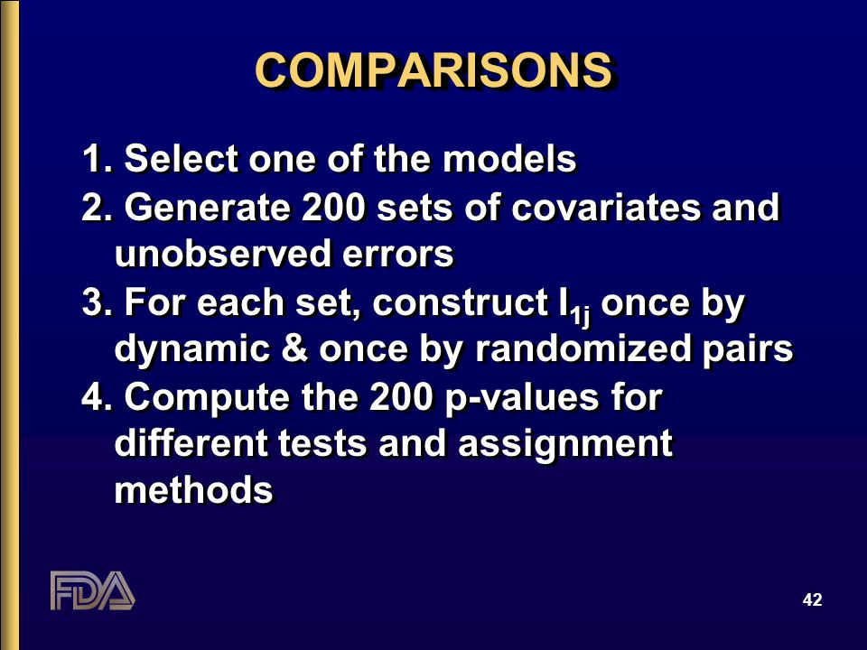 42 COMPARISONSCOMPARISONS 1. Select one of the models 2. Generate 200 sets of covariates and unobserved errors 3. For each set, construct I 1j once by