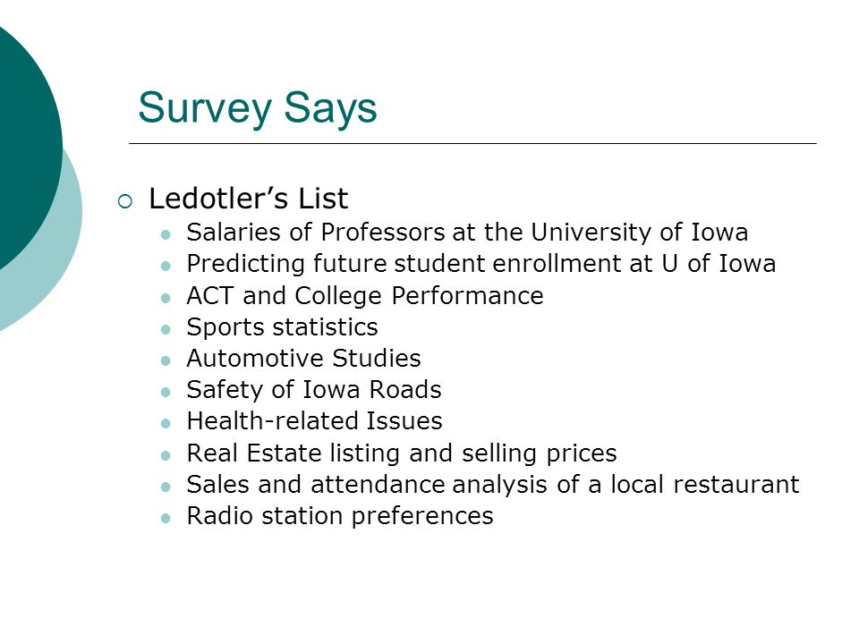 Survey Says  Ledotler's List Salaries of Professors at the University of Iowa Predicting future student enrollment at U of Iowa ACT and College Performance Sports statistics Automotive Studies Safety of Iowa Roads Health-related Issues Real Estate listing and selling prices Sales and attendance analysis of a local restaurant Radio station preferences