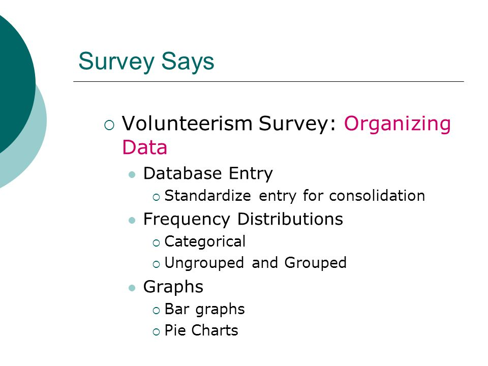 Survey Says  Volunteerism Survey: Organizing Data Database Entry  Standardize entry for consolidation Frequency Distributions  Categorical  Ungrouped and Grouped Graphs  Bar graphs  Pie Charts