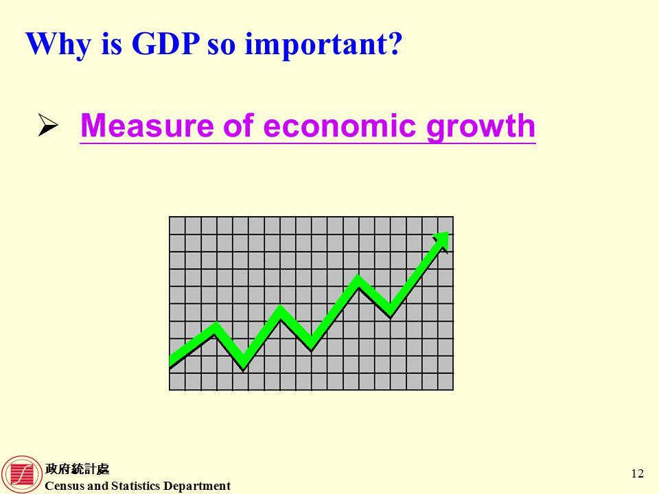 政府統計處 Census and Statistics Department 12  Measure of economic growth Why is GDP so important