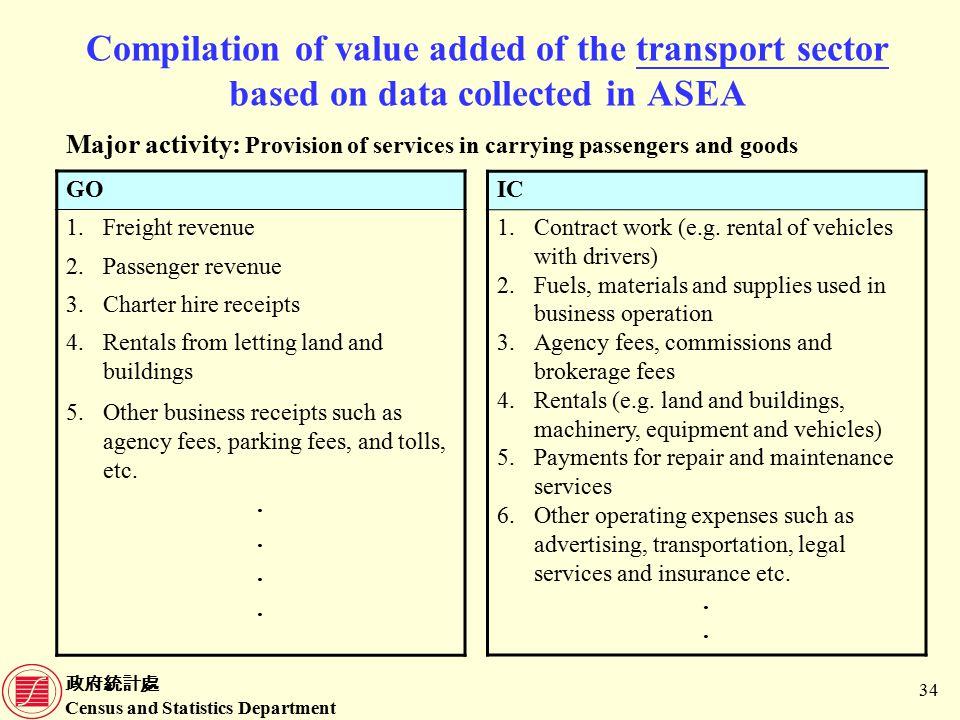 政府統計處 Census and Statistics Department 34 Compilation of value added of the transport sector based on data collected in ASEA IC 1.Contract work (e.g.
