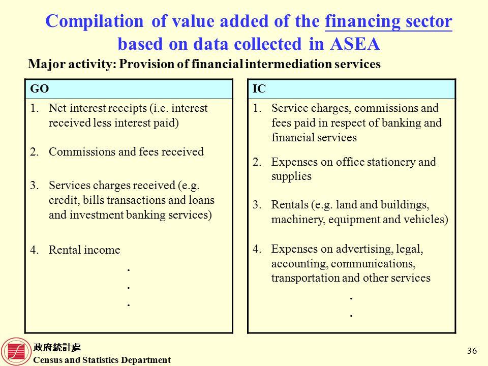 政府統計處 Census and Statistics Department 36 Compilation of value added of the financing sector based on data collected in ASEA Major activity: Provision of financial intermediation services GO 1.Net interest receipts (i.e.