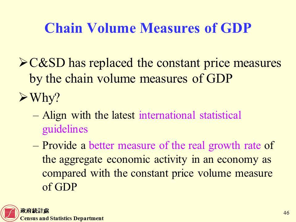 政府統計處 Census and Statistics Department 46 Chain Volume Measures of GDP  C&SD has replaced the constant price measures by the chain volume measures of GDP  Why.