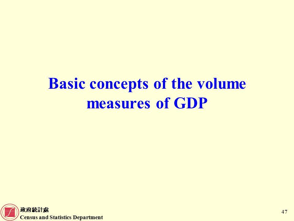 政府統計處 Census and Statistics Department 47 Basic concepts of the volume measures of GDP