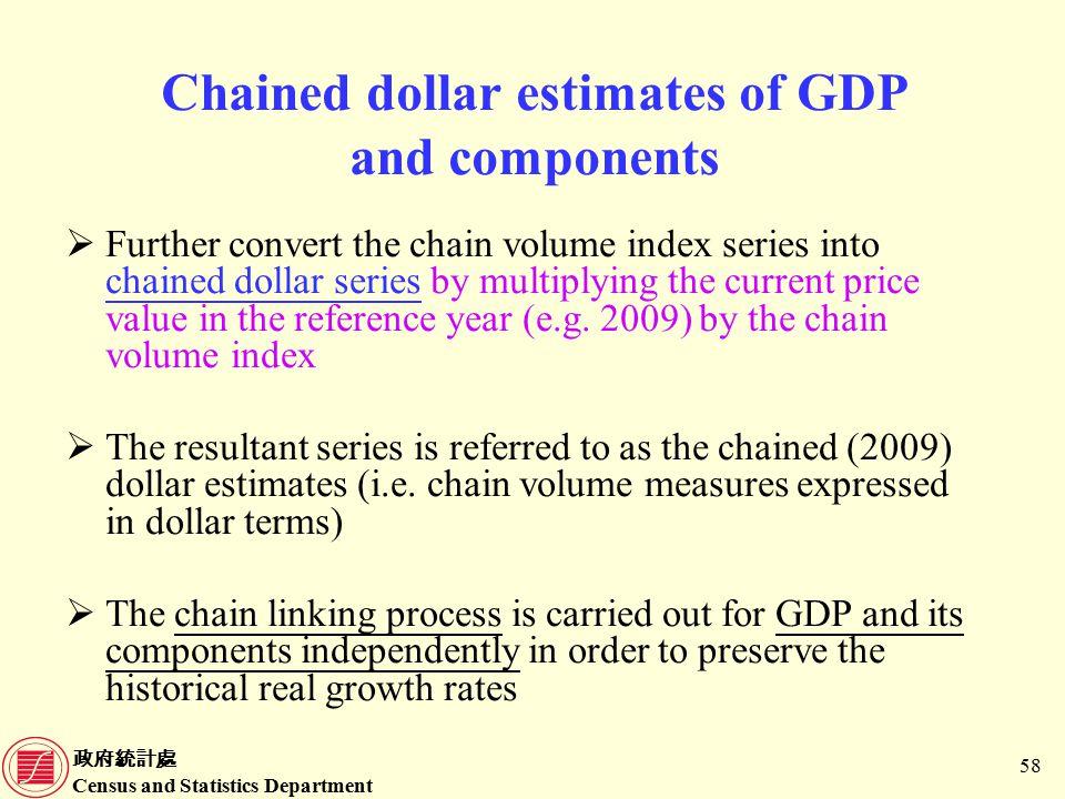 政府統計處 Census and Statistics Department 58 Chained dollar estimates of GDP and components  Further convert the chain volume index series into chained dollar series by multiplying the current price value in the reference year (e.g.