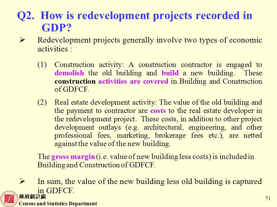 政府統計處 Census and Statistics Department 71 Q2. How is redevelopment projects recorded in GDP.