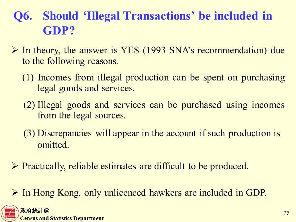 政府統計處 Census and Statistics Department 75 Q6.Should 'Illegal Transactions' be included in GDP.
