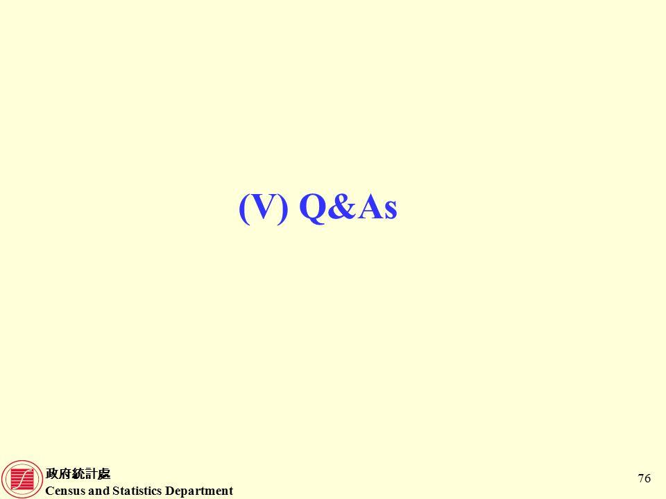 政府統計處 Census and Statistics Department 76 (V) Q&As