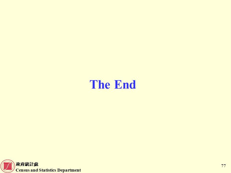 政府統計處 Census and Statistics Department 77 The End