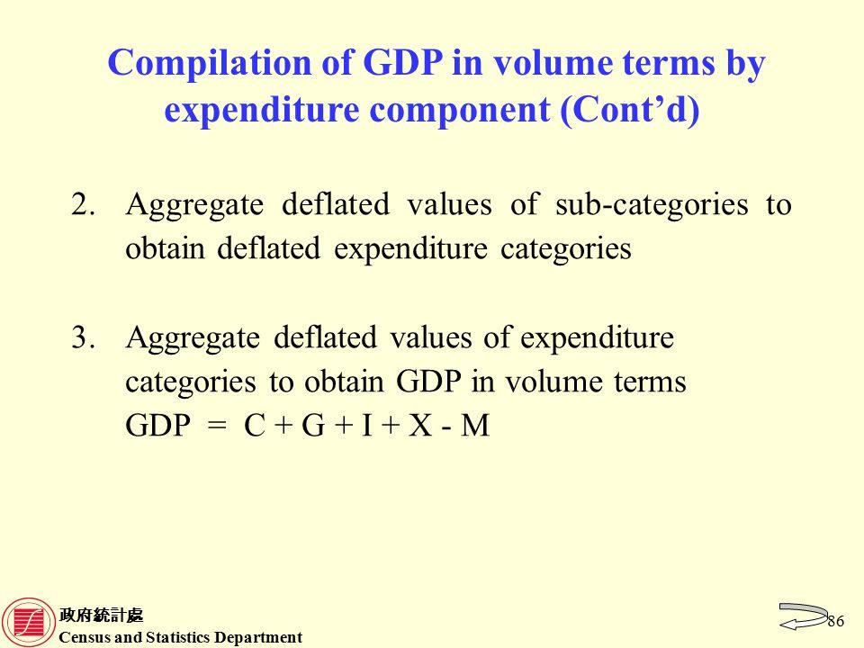 政府統計處 Census and Statistics Department 86 Compilation of GDP in volume terms by expenditure component (Cont'd) 2.Aggregate deflated values of sub-categories to obtain deflated expenditure categories 3.Aggregate deflated values of expenditure categories to obtain GDP in volume terms GDP = C + G + I + X - M