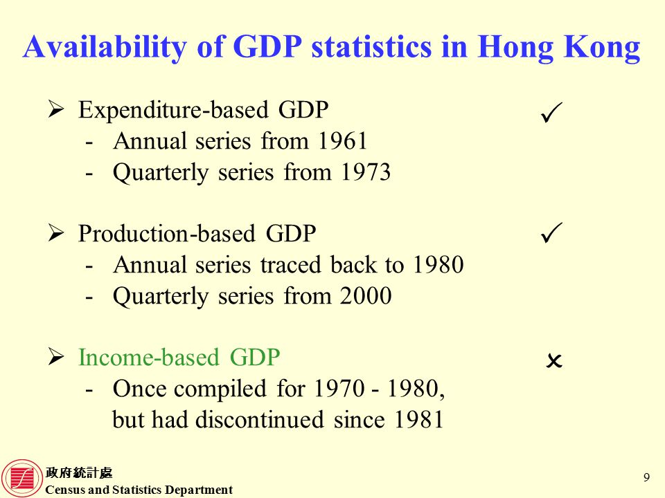政府統計處 Census and Statistics Department 30 Data sources for compilation of GDP(P) (Cont'd) Economic ActivityData sources 11.