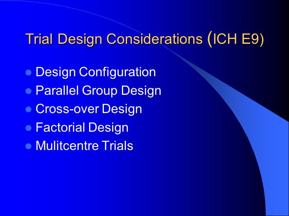 Trial Design Considerations ( ICH E9) Design Configuration Parallel Group Design Cross-over Design Factorial Design Mulitcentre Trials