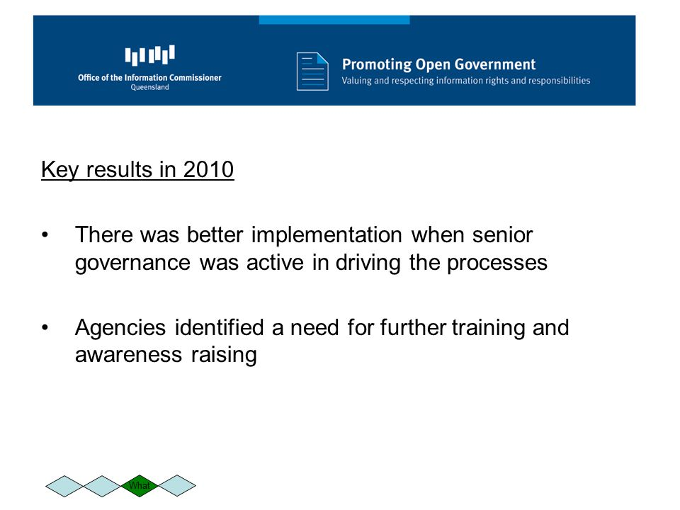 Key results in 2010 There was better implementation when senior governance was active in driving the processes Agencies identified a need for further training and awareness raising What