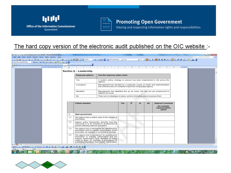 The hard copy version of the electronic audit published on the OIC website :-