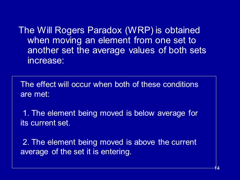 14 The Will Rogers Paradox (WRP) is obtained when moving an element from one set to another set the average values of both sets increase: The effect will occur when both of these conditions are met: 1.