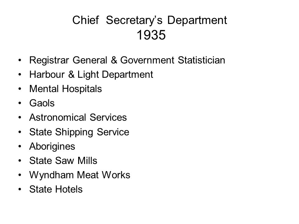 Chief Secretary's Department 1935 Registrar General & Government Statistician Harbour & Light Department Mental Hospitals Gaols Astronomical Services State Shipping Service Aborigines State Saw Mills Wyndham Meat Works State Hotels