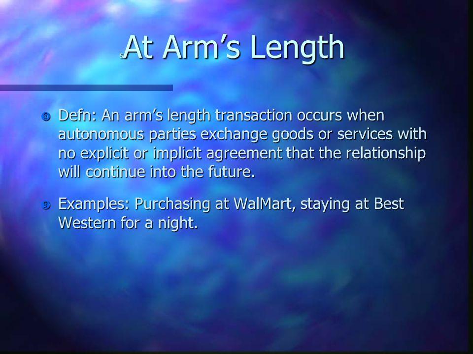 "5 At Arm's Length "" Defn: An arm's length transaction occurs when autonomous parties exchange goods or services with no explicit or implicit agreement"