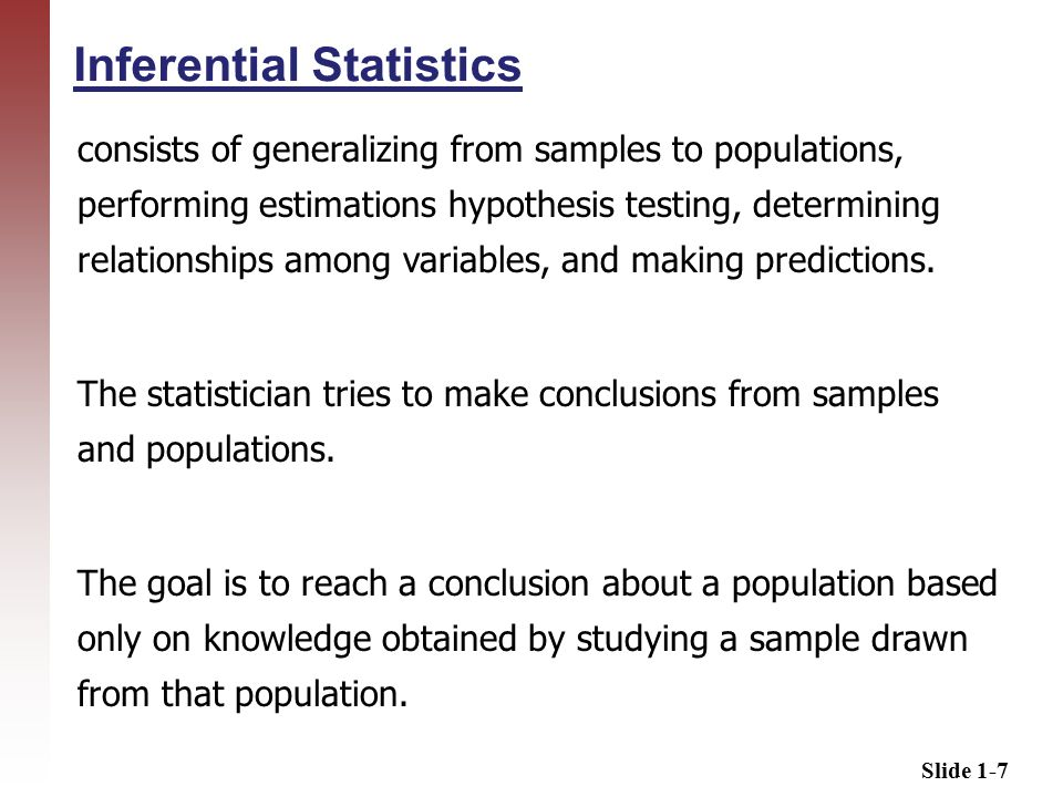 Slide 1-7 Inferential Statistics consists of generalizing from samples to populations, performing estimations hypothesis testing, determining relationships among variables, and making predictions.